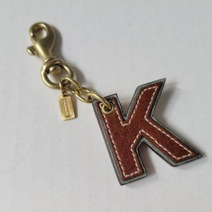 "Coach Leather Initial Alphabet Letter ""K"" K Key Fob Chain Keychain NWOT"